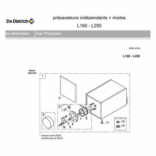 DE DIETRICH BH74 - Picker voll DHW L 250 - 250 Liter - De Dietrich
