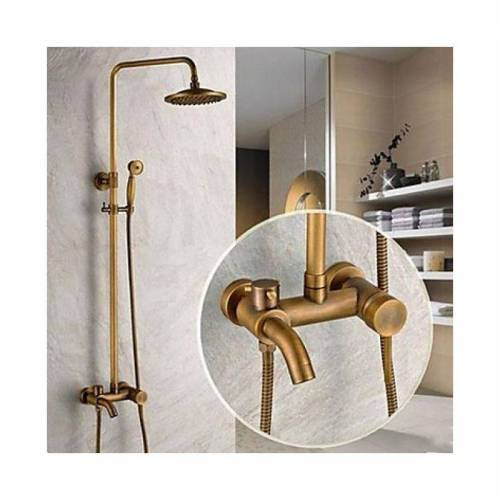 LOOKSHOP® Dusch- und Badewannenarmatur antik mit Duschkopf (8'') und Handbrause