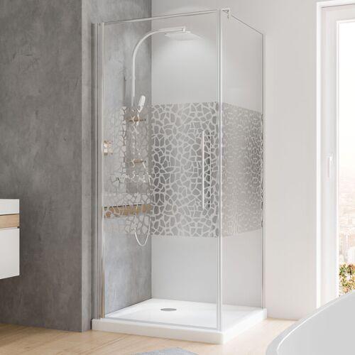 SCHULTE Duschkabine Dusche Drehtür mit Seitenwand 90x90 Eckdusche chromoptik