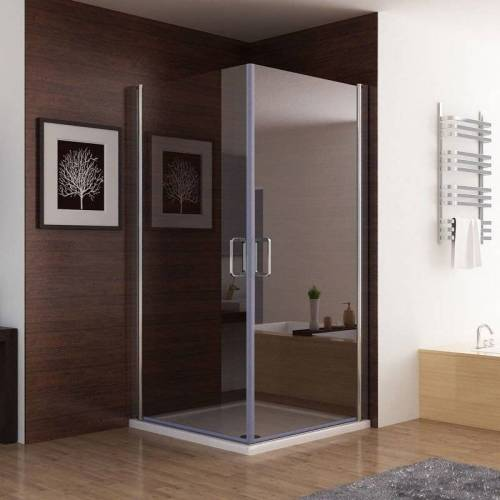 MIQU 100x100x185cm Duschkabine Eckeinstieg 180° Schwingtür Duschwand Dusche