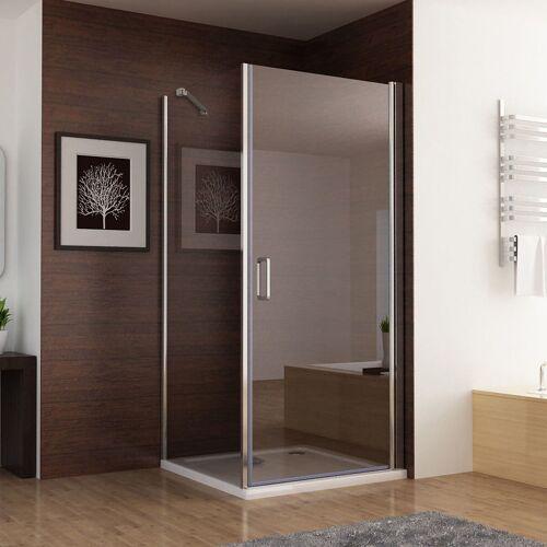 MIQU 100cm Duschkabine Eckeinstieg Dusche Schwingtür Duschwand mit 90cm