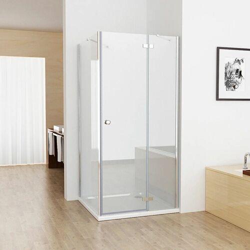 MIQU 90x90cm Duschkabine Eckig Dusche mit 90cm Seitenwand ESG Glas - Miqu
