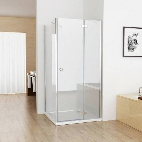 MIQU 75x90cm Duschkabine Eckig Dusche mit 90cm Seitenwand ESG Glas