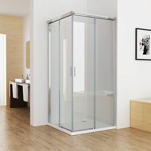 MIQU 90x90 cm Duschkabine Eckeinstieg Duschwand Schiebetür Dusche Echtglas