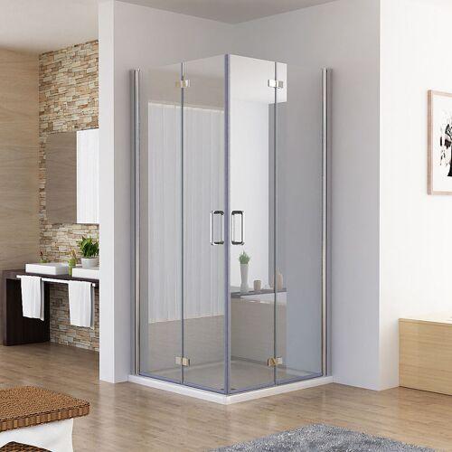 MIQU Duschkabine 100x100 Eckig Dusche Falttür 180º Duschwand Duschabtrennung