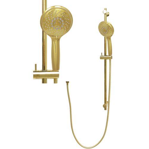 DIRKS-TRAUMBAD Wandstange Gold Braustange Messing Handbrause Brause Set Duschschlauch