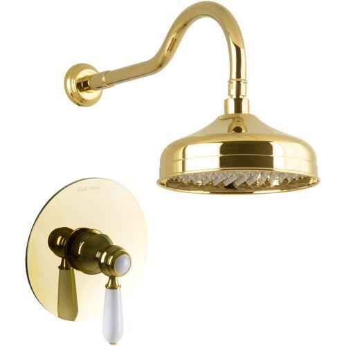 PAULGURKES Duschset Unterputz Gold Regendusche Nostalgie Retro Luxus Dusche Set