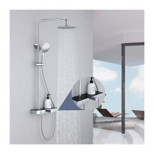 HOMELODY Duschsystem mit Thermostat Duschset mit Regal Regendusche Duscharmatur