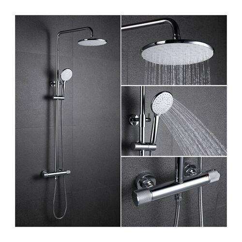HOMELODY Duschsystem mit Thermostat Regendusche eckig Duscharmatur Duschset