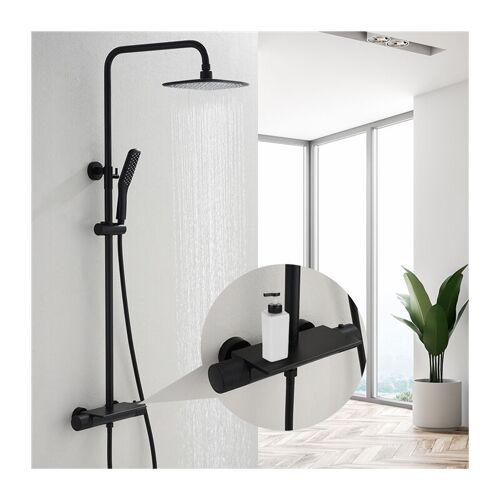 HOMELODY Duschsystem mit Thermostat, Schwarz Duschset Regendusche inkl.