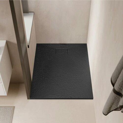 STANO Duschwanne bodengleich PIATTO aus SoliCast® schwarz 90 cm x 90 cm