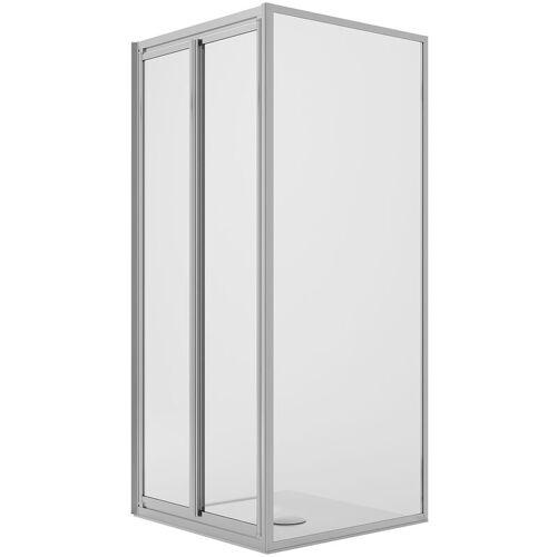 IDRALITE Eckige Duschkabine 90x90CM H185 Klarglas mit fester Wand+2