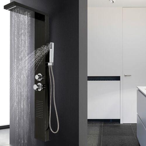 OOBEST Duschset Duschpaneel Regendusche Duschgarnitur Einfacher Stil Schwarz