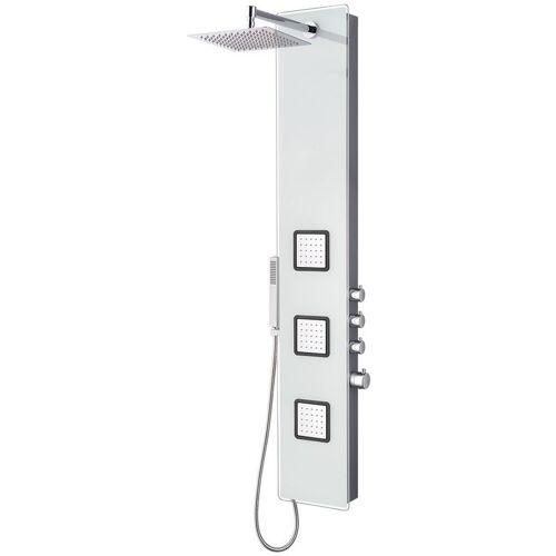 Stilform - Edles Glas Duschpaneel mit Thermostat in Weiss