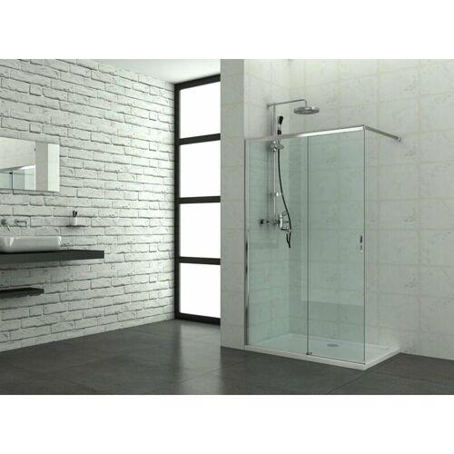 SANOTECHNIK Elite Chrom Duschtrennwand mit Schiebetür reversibel 118-120 x 195