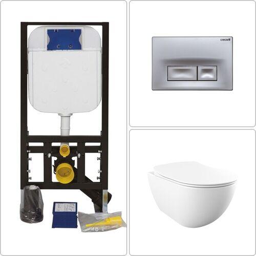 CREAVIT Free Wand WC spülrandlos mit Vorwandelement und Drückerplatte ORE in