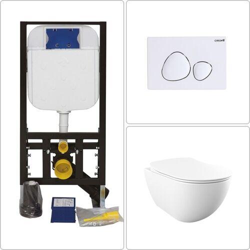 CREAVIT Free Wand WC spülrandlos mit Vorwandelement und Drückerplatte SPA in