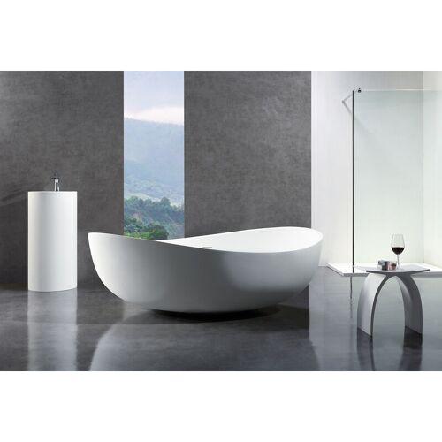 BERNSTEIN Freistehende Badewanne aus Mineralguss WAVE STONE weiß - 180 x 110 cm