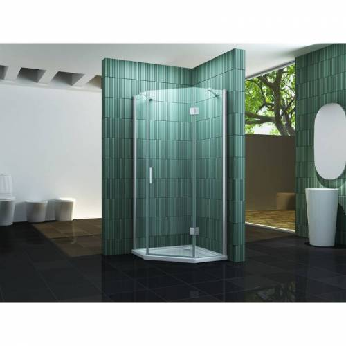 IMPEX-BAD Fünfeck-Duschkabine ELBO 100 x 100 x 200 cm inkl. Duschtasse - IMPEX-BAD