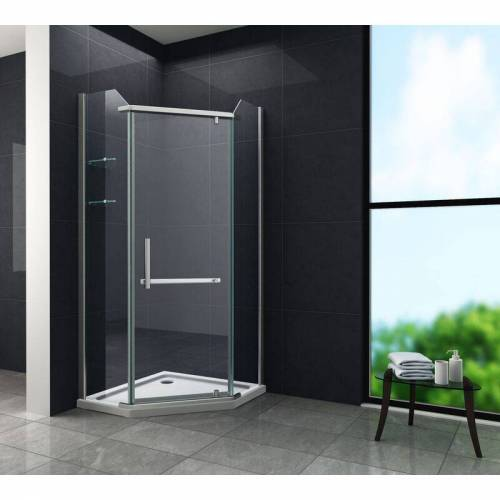 GLASDEALS Fünfeck-Duschkabine PENTAGONO 100 x 100 x 200 cm inkl. Duschtasse