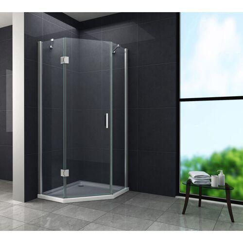 GLASDEALS Fünfeck-Duschkabine VERTEX 100 x 100 x 200 cm inkl. Duschtasse