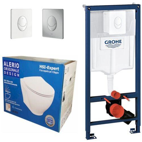 Grohe Rapid 3in1 + Alerio WC + Drückerplatte + WC-Sitz Weiß