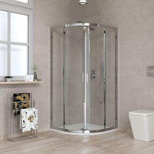 Ponsi Rubinetteria - Halbrunde Duschkabine 80 x 80 transparentes Glas