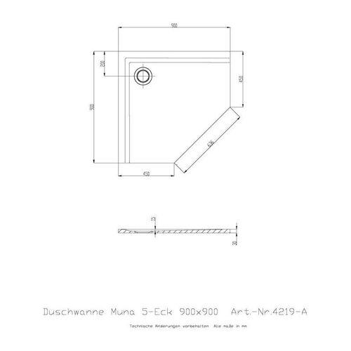 HOESCH Fünfeck-Duschwanne Fünfeck-Duschwanne MUNA ultraflach 900 x 900 x 30 mm