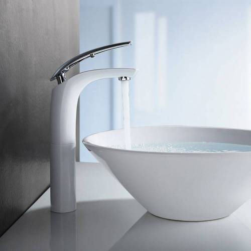 Homelody - Waschtischarmatur hoch Wasserhahn Bad Armatur Weiß Badzimmer
