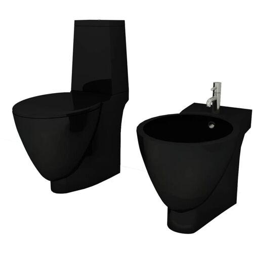 VIDAXL Keramik Toilette & Bidet Set Schwarz