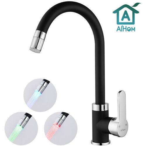 Aihom - LED Küchenarmatur mit 3-Farbtemperaturkontrolle, 360° Drehbar