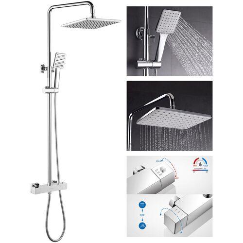 LONHEO Bad Regendusche mit Thermostat Duschset Duschsäule Duschsystem