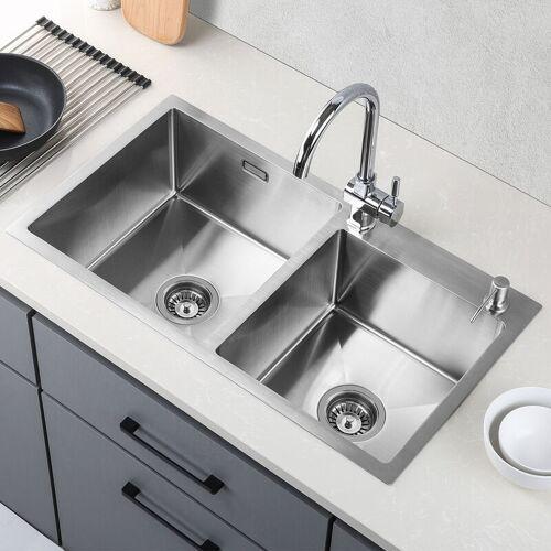 LONHEO Küchenspüle 2 Schalen 80*45CM Spülbecken 2 Becken Waschbecken