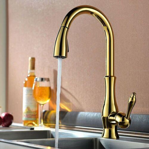 KROOS® Kroos ® - Moderne Küchenarmatur mit Handbrause und goldenem
