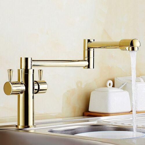 LOOKSHOP® Moderne Küchenarmatur mit goldenem, versenkbarem Auslauf