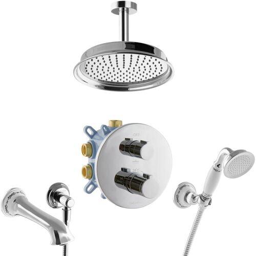 Paulgurkes - 3-Wege Thermostat Duschsystem für Badewanne Nostalgie