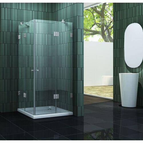 IMPEX-BAD rahmenlose Duschkabine MARCOLO 100 x 100 x 195 cm ohne Duschtasse
