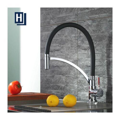 HOMELODY Küchenarmatur Schwarz Wasserhahn Küche 360° drehbar Silikon in