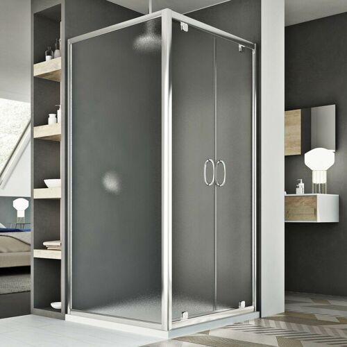 IDRALITE Sintesi Duo 2 Türen Duschkabine 110x90 ÖF. 110 CM H185 Strukturglas