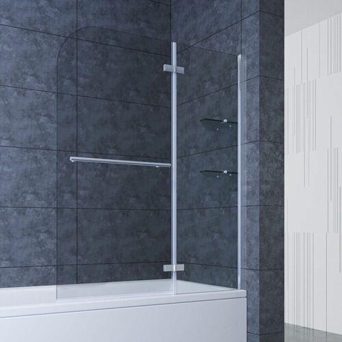 SONNI 100cm Badewannenaufsatz Faltwand 2-teilig Duschwand ESG Glas