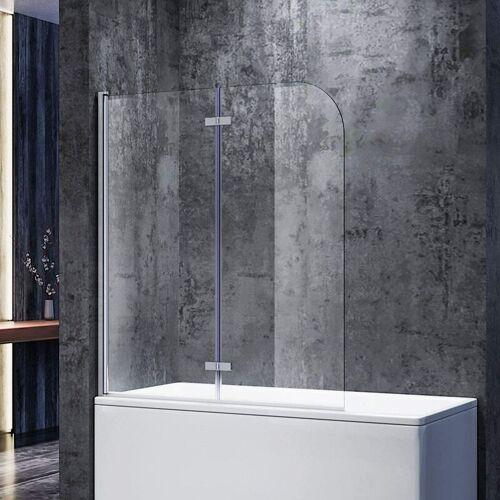 SONNI Badewannenaufsatz Glas 140(H)x120(B)cm Duschwand 6mm NANO ESG Glas,180°