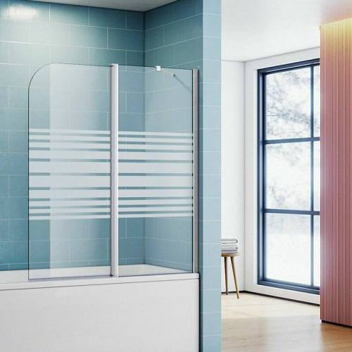 SONNI Badewannenaufsatz Glas Dusche Duschkabine 120(B)x140(H)cm 2-teilig mit