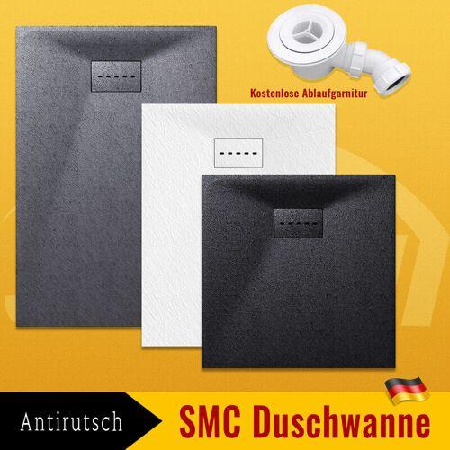 SONNI Duschwanne Duschtasse Super Flach aus Antirutsch Bad Grau,80 x 80