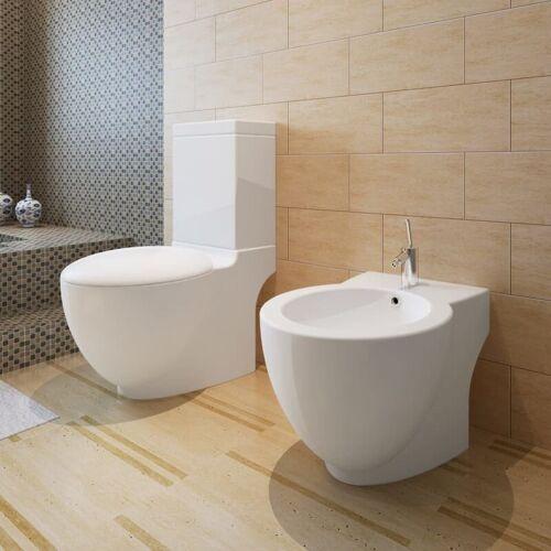 HOMMOO Stand-Toilette/WC+Soft WC Sitz+Stand-Bidet Bodenstehend weiß DDH14772