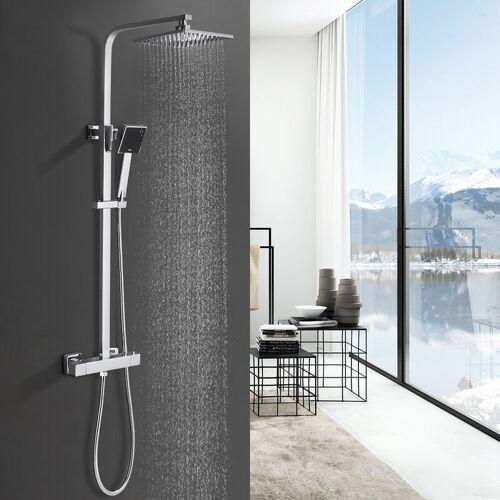 BONADE Duschesystem mit Thermostat Duscharmatur Thermostat mit Regendusche und