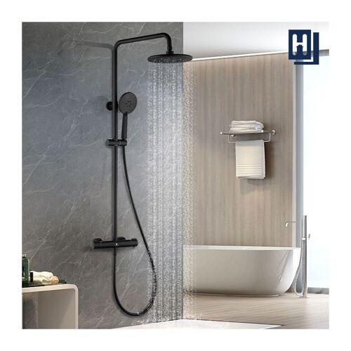 HOMELODY Thermostat Duschsystem Duschsäule Schwarz Duscharmatur Duschset