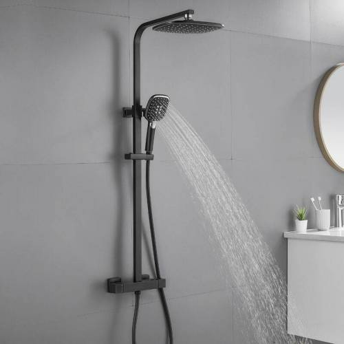 AURALUM Thermostatmischer-Duschset Schwarzes 9 Zoll Overhead-Dusche Duschsäule