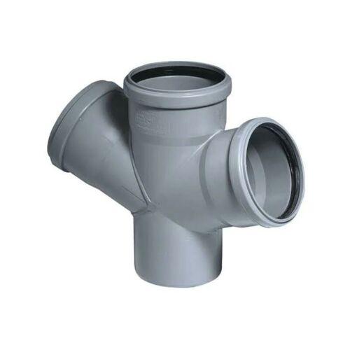 VALSIR HTDA Doppelabzweig PP, 87 Grad, 3x Steckmuffe, Abwasserrohr, DN