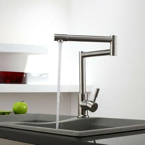 KROOS® Versenkbare Küchenarmatur mit schwenkbarem Auslauf aus Edelstahl und
