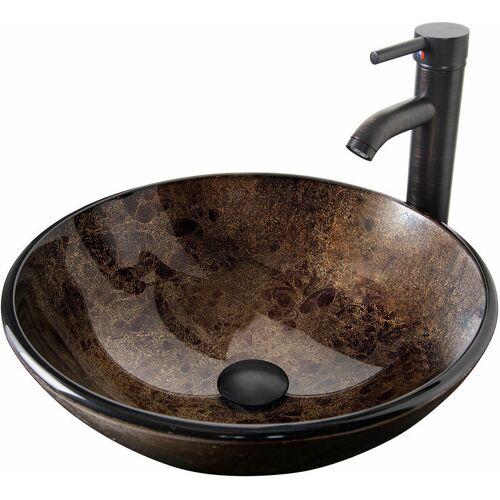 PULUOMIS Waschbecken Rund Glas Aufsatzwaschbecken Wasserhahn Bad Abfluss